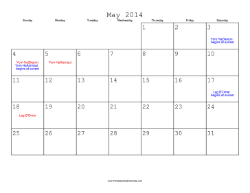 May 2014 Calendar with Jewish holidays