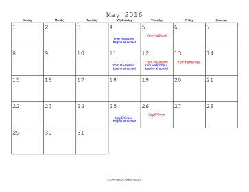 May 2016 Calendar with Jewish holidays